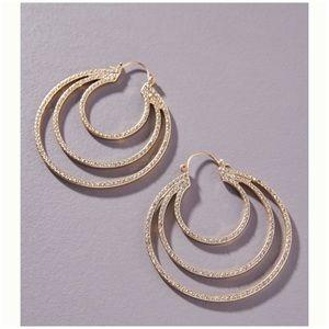 Gold Crystal Alma Hoop Earrings